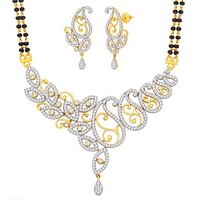 Peora 18 Karat Gold And Rhodium Plated Mangalsutra Set With Swiss Cubic Zirconia (Design 9)