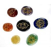 """Chakra Gemstone Engraved Palm Stone Set 7 PCS SET (3.5X2.7CM), Chakra Set, Chak"