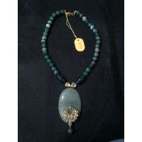 Indian Necklace Made Up Of Green Stone And Beads