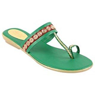 Charu-Diva Women Green Designer Flats Sandals