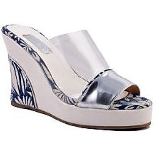 Ladies Wedges / Sandals / Heels  - Clear Up Wedge - ZDF0104 - SILVER - Zaera