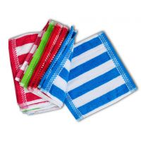 ILiv 100% Cotton Stripes Design Face Towels( Set Of 12 )