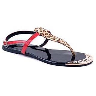 Ladies Flats / Chappals / Sandals - Adjustable Buckle - ZDF0095 - RED - Zaera