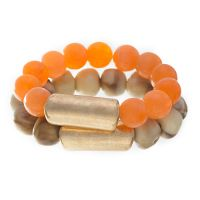 Blueberry Striking Orange Beads Bracelet Set