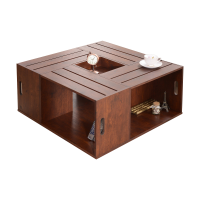 Afydecor Coffee Table With Slatted Top In Brown