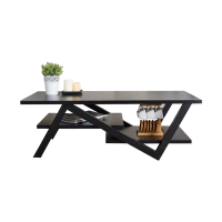 Afydecor Coffee Table With Zig Zag Legs In Brown