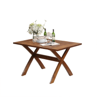Afydecor Flat Wooden Table With Crossed Legs In Brown