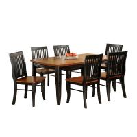 Afydecor Dining Set With Slatted Design In Black