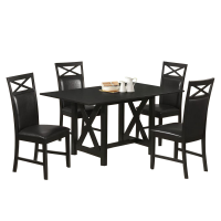 Afydecor Dinning Set With Cross Bar Support In Black