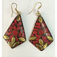 BRASS MATERIAL EARRINGS WITH HAND MADE WORK IN VIBRANT COLOR. - 74112164