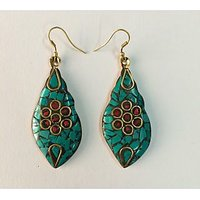 BRASS MATERIAL EARRINGS WITH HAND MADE WORK IN VIBRANT COLOR.