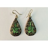 BRASS MATERIAL EARRINGS WITH HAND MADE WORK IN VIBRANT COLOR. - 74112166