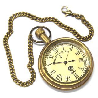Anantahomes Brass Pocket Watch Chain Roman Dial
