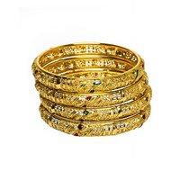 Joyas Designer 4 Piece Golden Bangles Set_1B12935085