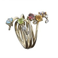Cluttered Color Stone Ring And Diamond Ring In 18 Kt White Gold