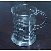 Heat Resistant Glass Coffee Mug & Coffee Cup With S/S Holder 200 ML
