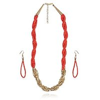 Designer Red Beads Studded String Theme Crossed Red & Golden Necklace Set