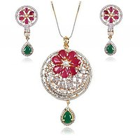 Wedding Collection Of Designer CZ Color Stones Studded 22Ct. Gold Plated Floral Pendant Set