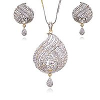 Wedding Collection Of Crystals & CZ Stones Studded 22Ct. Gold Plated Floral Pendant Set