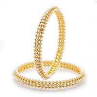 Sukkhi Pleasing Gold Plated Moti Bangles For Women