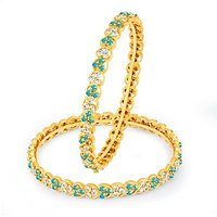 Sukkhi Ravishing Aqua And White Colour Stone Studded Bangles