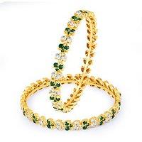 Sukkhi Glistening Green And White Colour Stone Studded Bangles