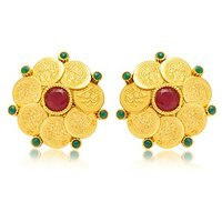 Sukkhi Gorgeous Gold Plated Temple Jewellery Coin Earring For Women
