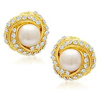 Sukkhi Designer Gold Plated AD Moti Earring For Women