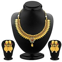 Sukkhi Ravishing Gold Plated  Temple Jewellery Coin Necklace Set For Women