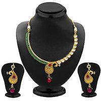 Sukkhi Pretty Peacock Gold Plated Kundan Necklace Set For Women