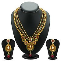 Sukkhi Fancy Gold Plated Three String Necklace Set For Women