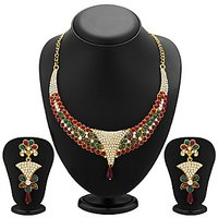 Sukkhi Creative Gold Plated Meenakari AD Necklace Set For Women