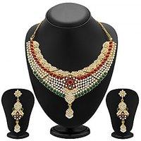 Sukkhi Gracefull Gold Plated Meenakari AD Necklace Set For Women