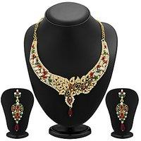 Sukkhi Sleek Gold Plated Meenakari AD Necklace Set For Women