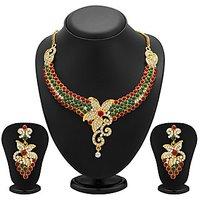 Sukkhi Briliant Gold Plated Meenakari AD Necklace Set For Women