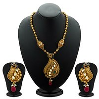 Sukkhi Beguiling Antique Gold Plated Kundan Necklace Set For Women