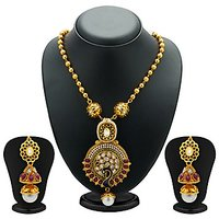 Sukkhi Lavish Peacock Antique Gold Plated Kundan Necklace Set For Women