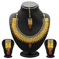 Sukkhi Stylish Gold Plated Temple Jewellery Coin Necklace Set For Women