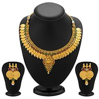 Sukkhi Graceful Gold Plated  Temple Jewellery Coin Necklace Set For Women