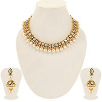 Sukkhi Eye-Catchy Gold Plated Tilak Shaped AD Solitaire Necklace Set For Women