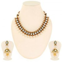 Sukkhi Ravishing Gold Plated Tilak Shaped AD Solitaire Necklace Set For Women