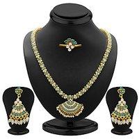 Sukkhi Sublime Aqua And White Colour Stone Studded Necklace Set
