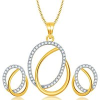 Sukkhi Glistening Gold And Rhodium Plated CZ Pendant Set For Women