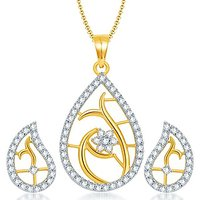 Sukkhi Classy Gold And Rhodium Plated CZ Pendant Set For Women