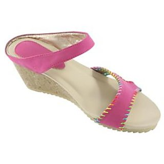 H&H Women's Wedges Fashion Slip-on Sandals (HH446PlumRed)