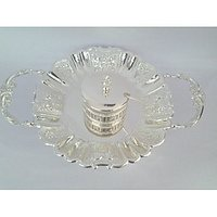 Royal Silver Plated Round Tray In Beautiful Flower Design With Handle Also & With Single Silver Plated Suppari Bowl