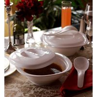 Serving Bowls-Incrizma 2Pc Serving Bowls With Lid And Spoons - White