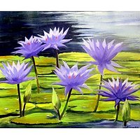 Beauty Of Water Lilies-Acrylic On Canvas Painting