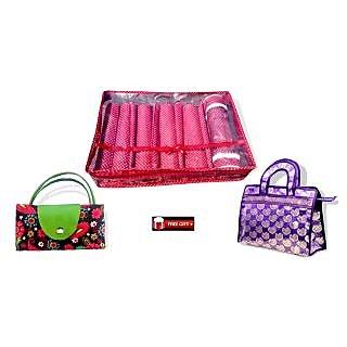 Combo Of Bangle Box 5 Row (5 Rod) + Jama  Hand Bag + Foldable Shopping Bag + Fre