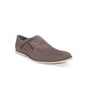 Guava Suede Leather Side Lace-up Shoe - Brown